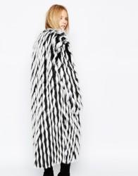 ASOS Story Of Lola Maxi Faux Fur Coat In Mixed Monochrome