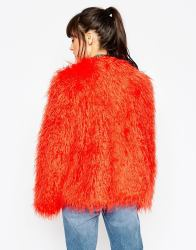 ASOS Coat in Mongolian Faux Fur
