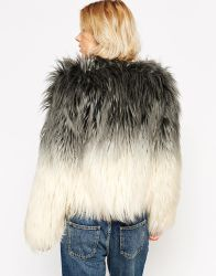 ASOS Barney's Originals Ombre Faux Fur Coat